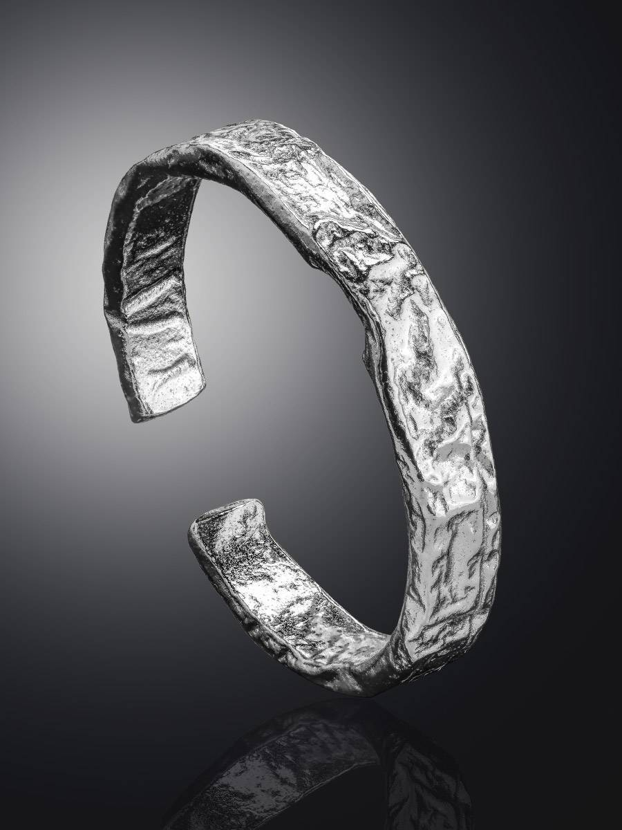 Contemporary crumbled texture one-size silver ring The Liquid, Ring Size: Adjustable, image , picture 2