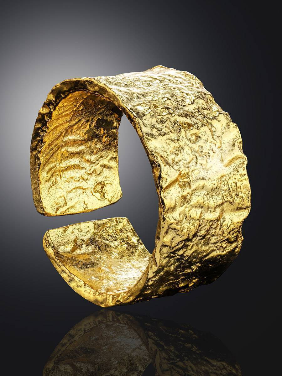Trendy Textured Gold Plated Silver Ring The Liquid, Ring Size: Adjustable, image , picture 2