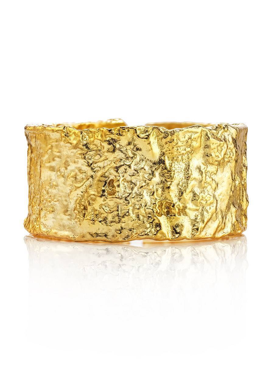 Trendy Textured Gold Plated Silver Ring The Liquid, Ring Size: Adjustable, image , picture 3