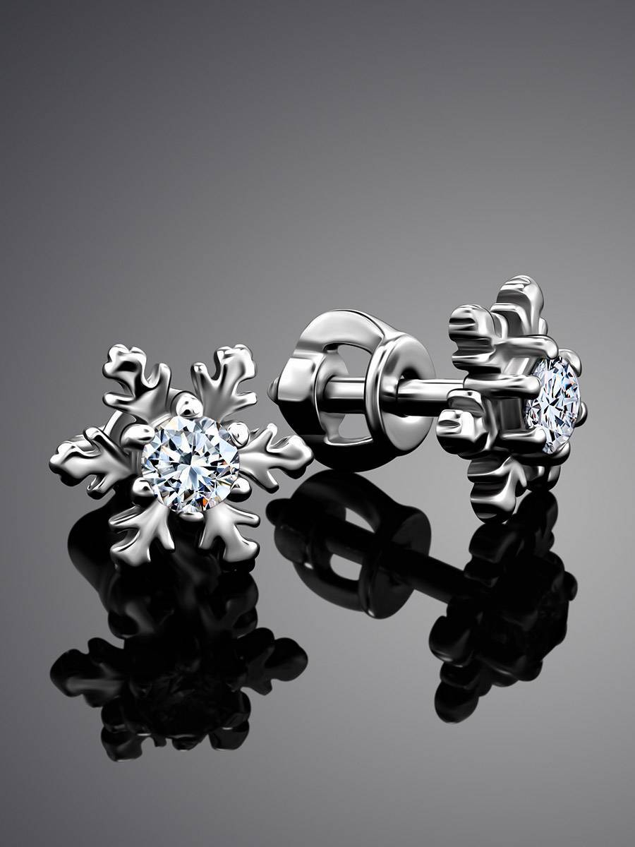 Silver Snowflake Stud Earrings With Crystals The Aurora, image , picture 2