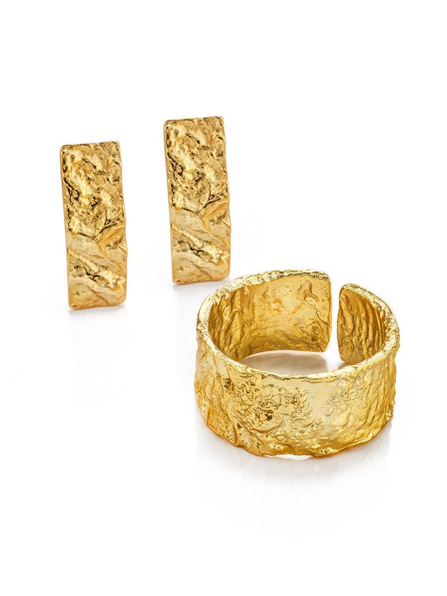 Trendy Textured Gold Plated Silver Ring The Liquid, Ring Size: Adjustable, image , picture 4