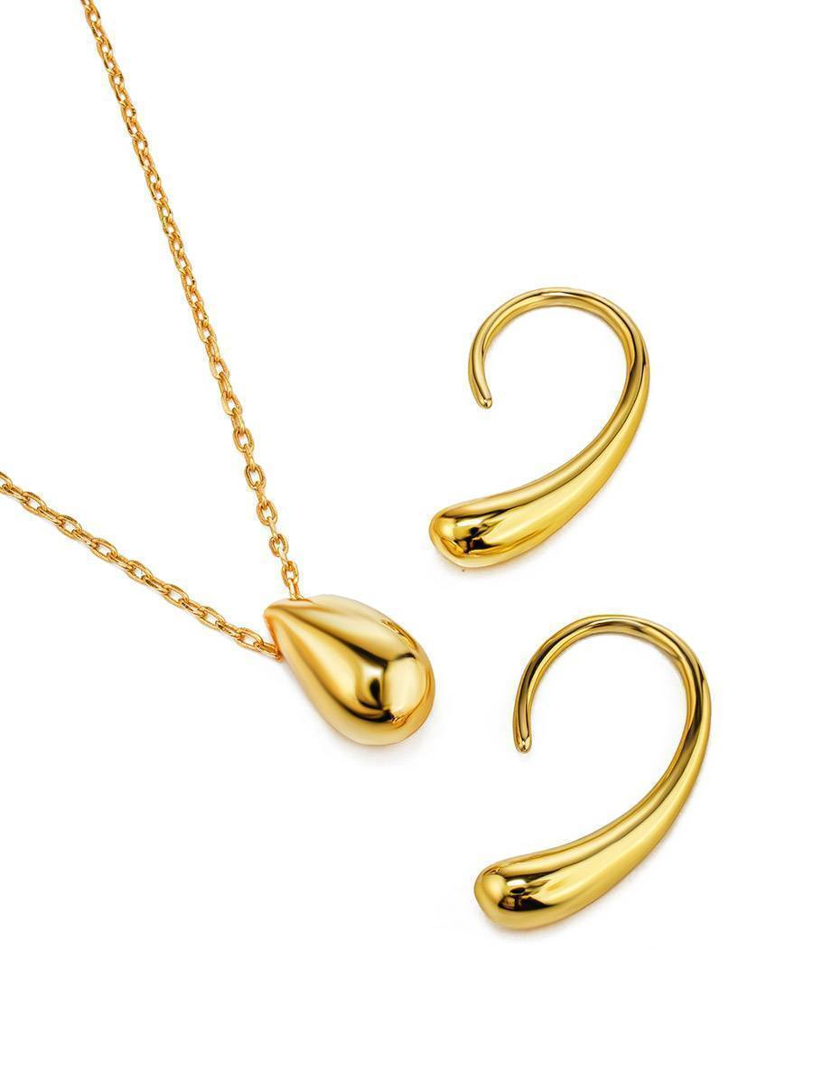 Statement 18ct Gold on Sterling Silver Drop Earrings The Liquid, image , picture 4