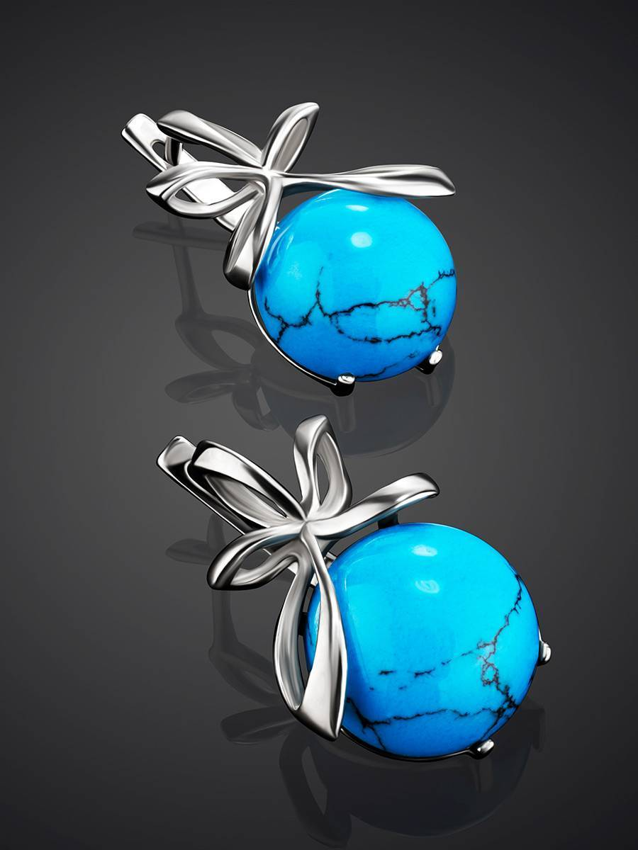 Silver Earrings With Bright Turquoise, image , picture 2