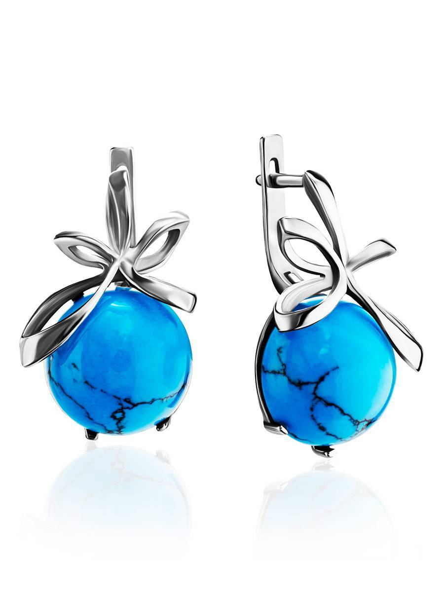Silver Earrings With Bright Turquoise, image