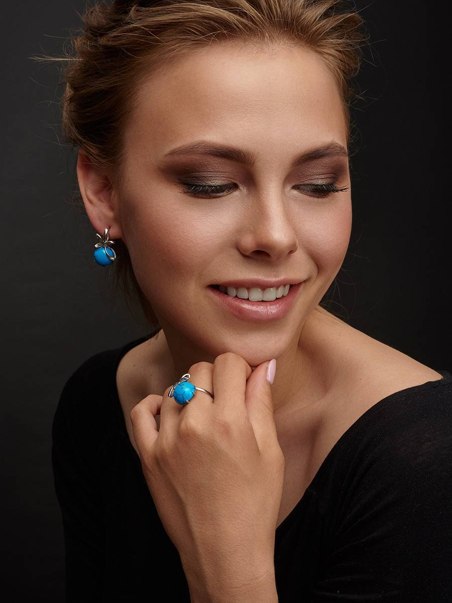Silver Earrings With Bright Turquoise, image , picture 3