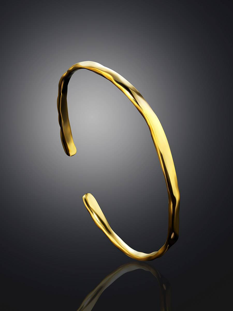 Luxurious Gold-Plated Silver Bangle The Liquid, image , picture 2