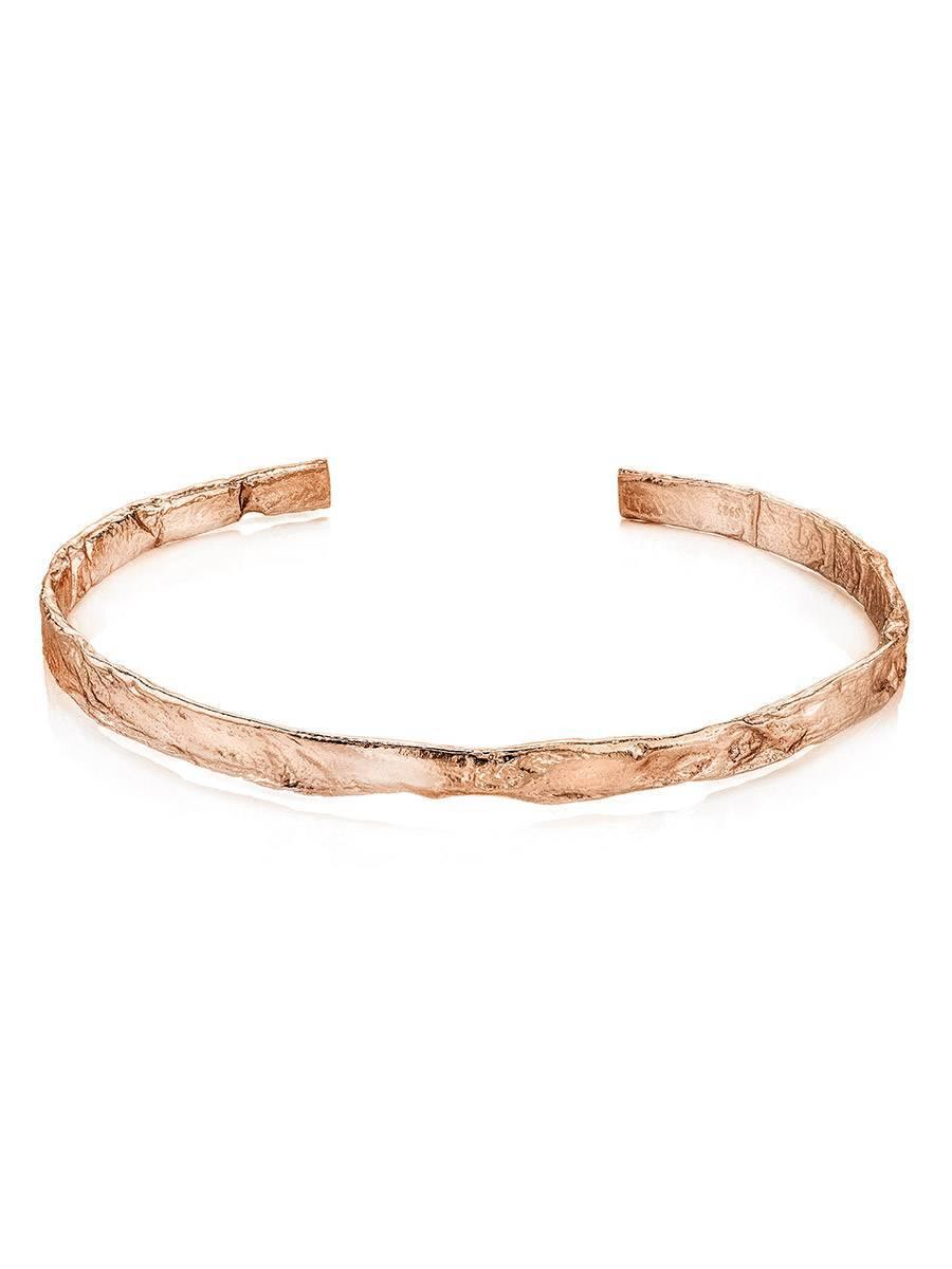 Trendy Textured Rose Gold Bangle Bracelet The Liquid, image , picture 3