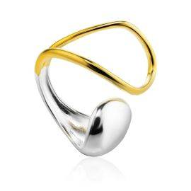 Stunning Two-Tone Silver Ring The Liquid, Ring Size: Adjustable, image