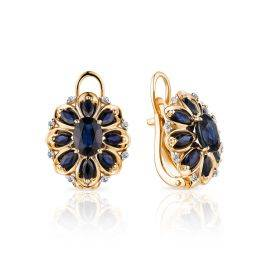 Amazing Gold Diamond Sapphire Earrings, image