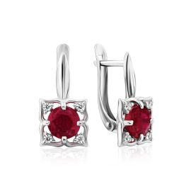 Charming Silver Garnet Earrings With Crystals, image