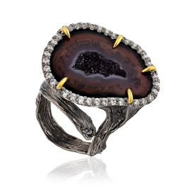 Designer Silver Ring With Agate Geode And Crystals, Ring Size: Adjustable, image