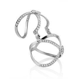Trendy Silver Crystal Articulated Ring, Ring Size: 6 / 16.5, image