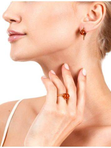 Cognac Amber In Gold Earrings The Aldebaran, image , picture 2