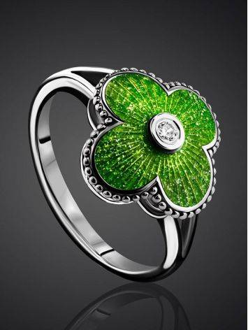 Extra Bright Enamel Clover Ring With Crystal The Heritage, Ring Size: 7 / 17.5, image , picture 2