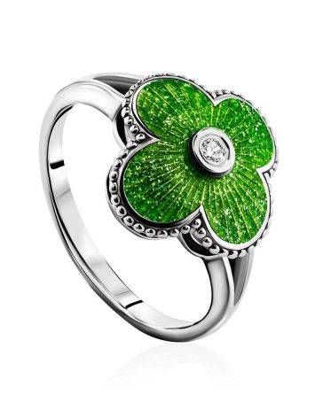 Extra Bright Enamel Clover Ring With Crystal The Heritage, Ring Size: 7 / 17.5, image