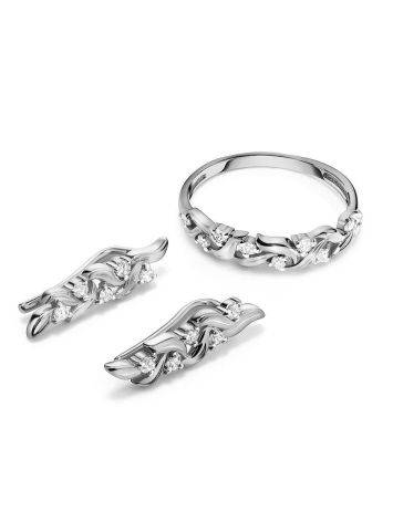 Refined Silver Climber Earrings With Crystals, image , picture 4
