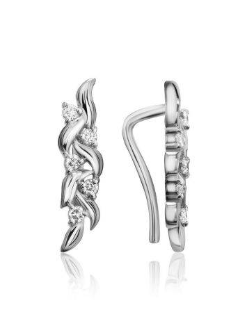 Refined Silver Climber Earrings With Crystals, image