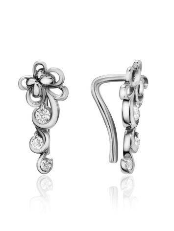 Silver Floral Climber Earrings With Crystals, image