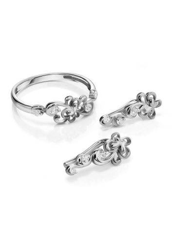 Silver Floral Climber Earrings With Crystals, image , picture 3