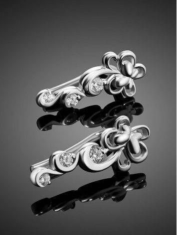Silver Floral Climber Earrings With Crystals, image , picture 2