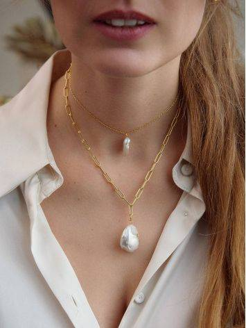 Designer Gold Plated Necklace With Baroque Pearl Pendant The Palazzo, Length: 40, image , picture 4