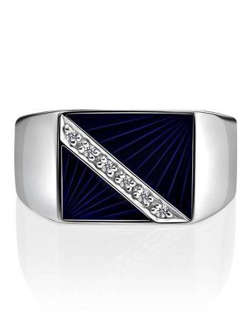 Geometric Unisex Silver Signet Ring With Enamel And Diamonds The Heritage, Ring Size: 9 / 19, image , picture 3