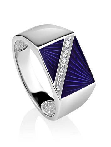 Geometric Unisex Silver Signet Ring With Enamel And Diamonds The Heritage, Ring Size: 9 / 19, image