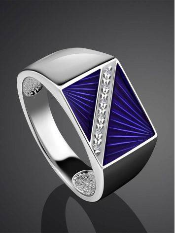 Geometric Unisex Silver Signet Ring With Enamel And Diamonds The Heritage, Ring Size: 9 / 19, image , picture 2
