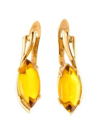 Chic Golden Earrings With Cognac Amber The Verbena, image