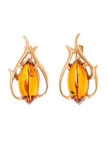 Floral Earrings With Cognac Amber The Tulip, image