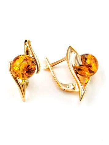 Cognac Amber In Gold Earrings The Aldebaran, image , picture 3