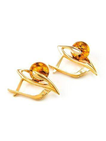 Cognac Amber In Gold Earrings The Aldebaran, image , picture 4