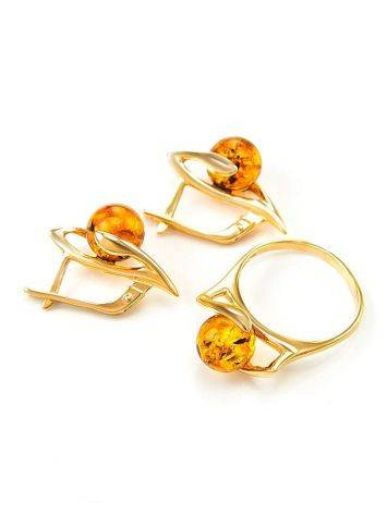 Cognac Amber In Gold Earrings The Aldebaran, image , picture 5