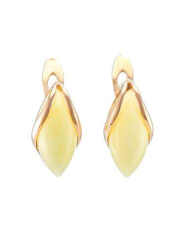 Cute Golden Earrings With Honey Amber The Snowdrop, image