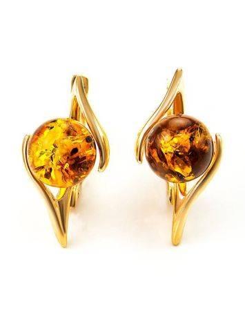Cognac Amber In Gold Earrings The Aldebaran, image