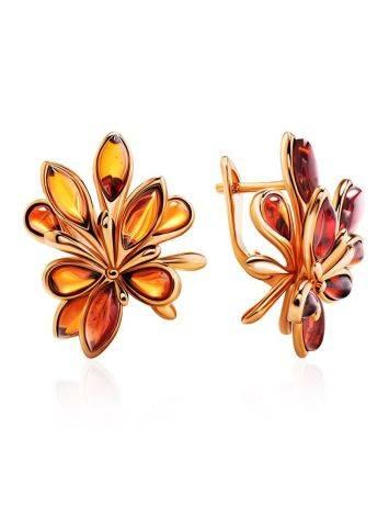 Cognac Amber Earrings In Gold The Dahlia, image