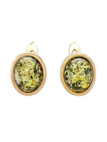 Oval Golden Earrings With Luminous Green Amber The Amigo, image