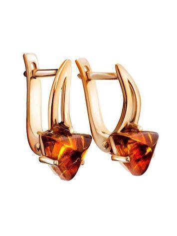 Stylish Golden Earrings With Amber, image