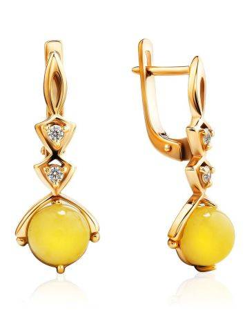 Chic Golden Earrings With Honey Amber And Crystals The Sambia, image