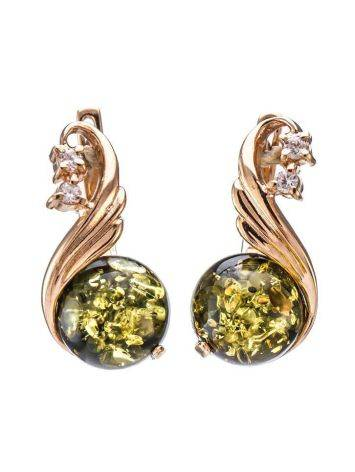 Refined Green Amber Earrings With Crystals The Swan, image