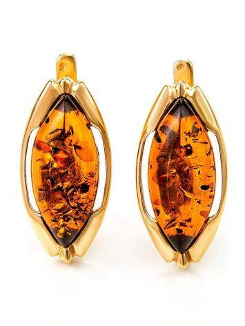 Chic Golden Earrings With Cognac Amber The Ballade, image