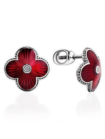 Red Enamel Floral Studs With Diamonds The Heritage, image