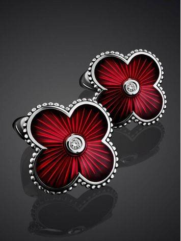 Red Enamel Floral Studs With Diamonds The Heritage, image , picture 2