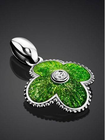 Enamel Clover Shaped Pendant With Crystal The Heritage, image , picture 2