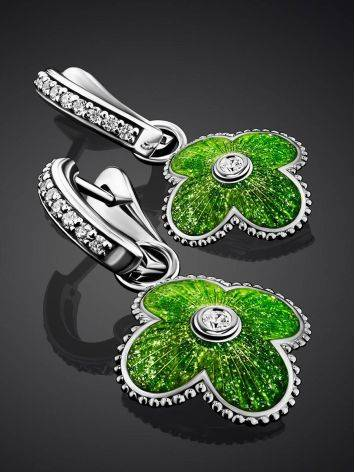 Silver Earrings With Enamel Clover Shaped Dangles The Heritage, image , picture 2