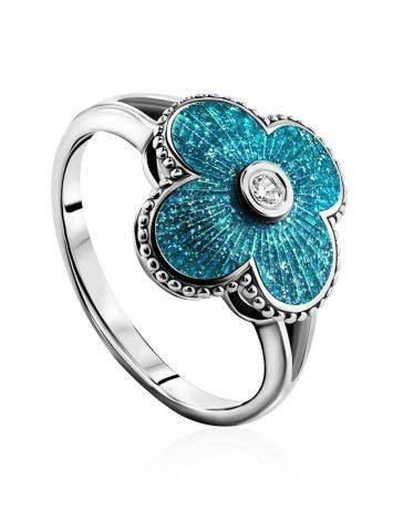 Shimmering Enamel Ring With Crystal The Heritage, Ring Size: 7 / 17.5, image