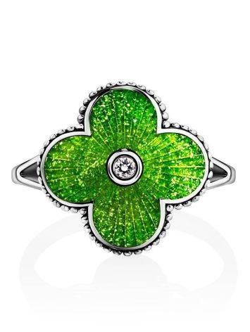 Extra Bright Enamel Clover Ring With Crystal The Heritage, Ring Size: 7 / 17.5, image , picture 3