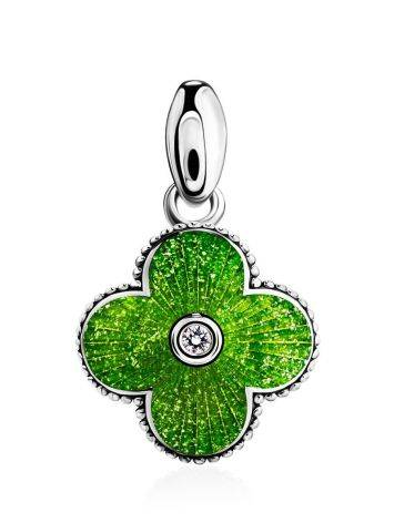 Enamel Clover Shaped Pendant With Crystal The Heritage, image