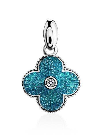 Shimmering Blue Enamel Pendant With Crystal The Heritage, image