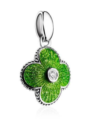 Enamel Clover Shaped Pendant With Crystal The Heritage, image , picture 3